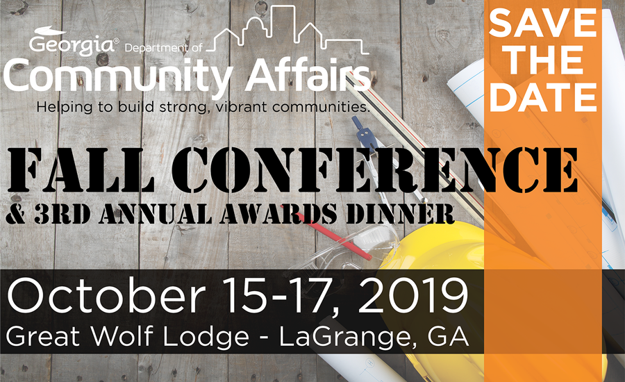 Fall Conference & 3rd Annual Awards Dinner | October 15 - 17, 2019 | Great Wolf Lodge - LaGrange, GA