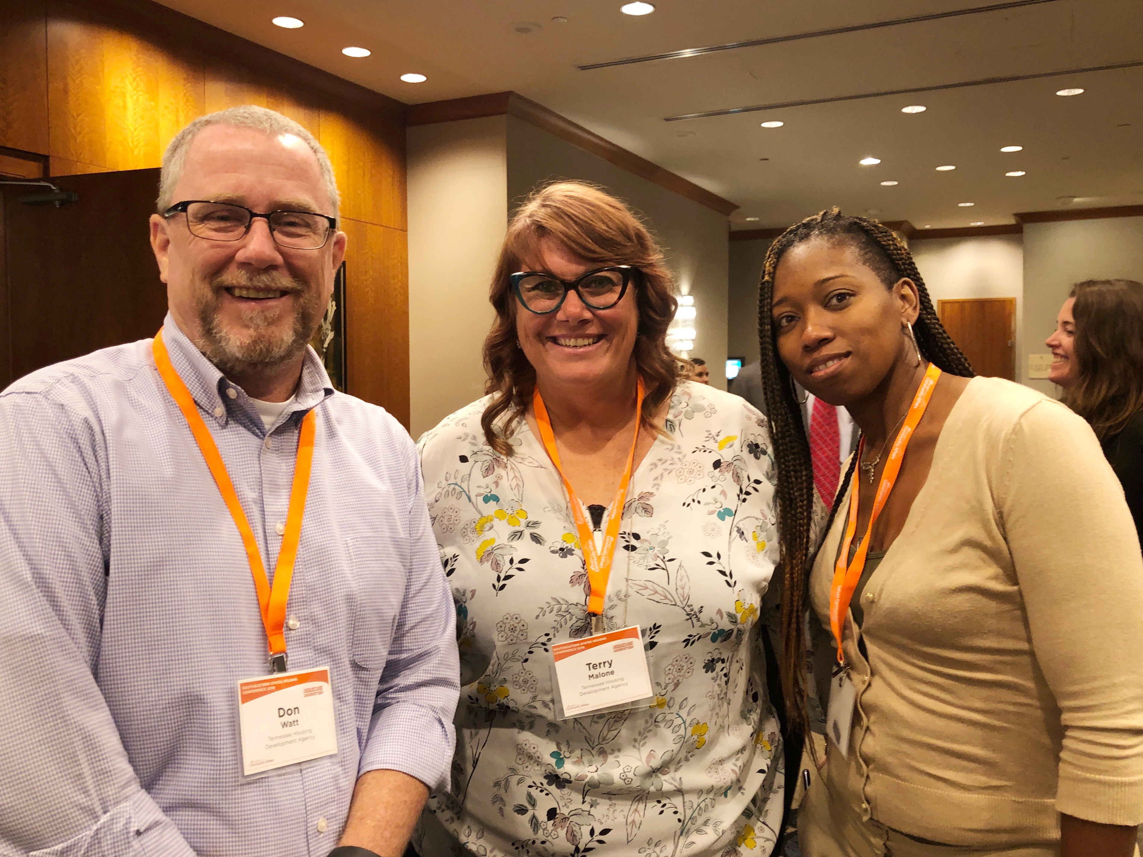 Three conference participants at the Southeastern States Housing Conference.